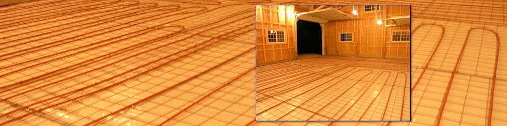 Radiant tubing is installed prior to pouring a slab for a floor heating system.