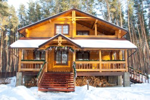 Timber Frame Home in Winter Scene