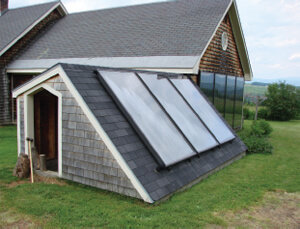solar panels on a shed roof
